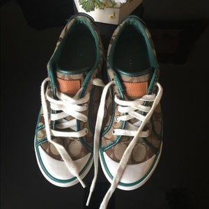 Coach tan and green Tennis Shoe